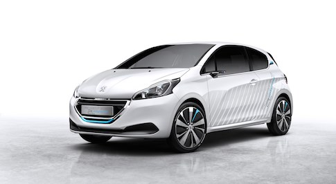 Peugeot showcase 208 Hybrid Air 2L concept at Paris Motor Show