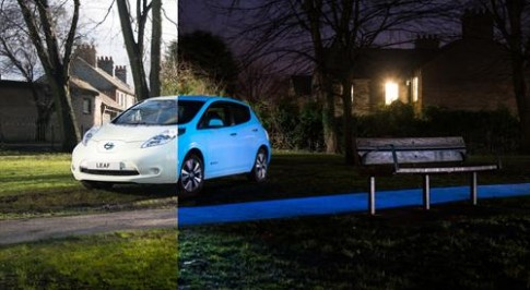 Nissan's electric LEAF shines thanks to organic glow-in-the-dark paint