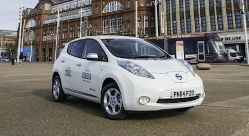 Nissan's electric Leaf taxis go into service in Blackpool