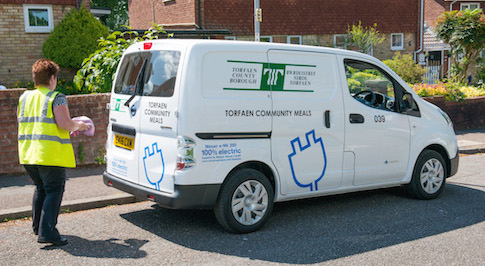 Meals on wheels delivered by all-electric Nissan e-NV200 vans