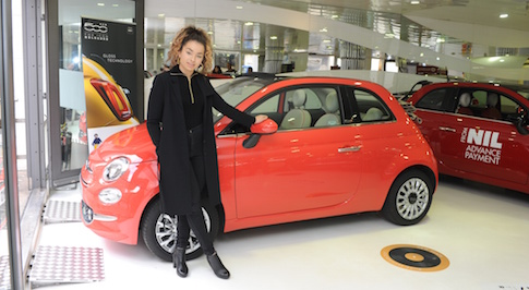 Ella Eyre collects her Fiat 500C Lounge, following her on-stage duet with the car earlier this month