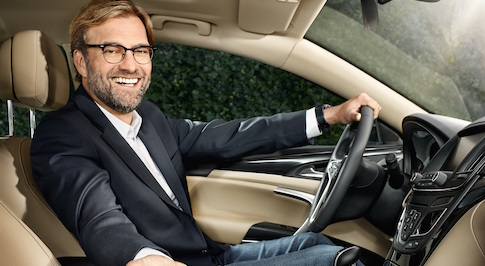 Liverpool FC manager J�rgen Klopp drives Vauxhall Insignia as part of new role